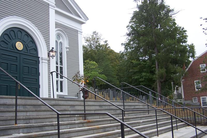 Church at Concord MA cemetery