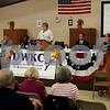 Democratic Party primary candidates for the 14th Congressional District, (from left) Matt Brolley, Victor Swanson, Lauren Underwood, Jim Walz and George Weber, participate in a forum Monday at the UAW hall in Montgomery, moderated by Jerre Henricksen (center).