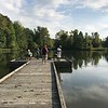 Locals fish on one of four fishing piers available at Veterans Park, 5730 Hopkins Road in Mentor. (Harley Marsh/The News-Herald)