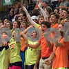 Sam Buckner for Shaw Media.<br /> Dekalb student section cheers on the volleyball team on Wednesday September 20, 2017 at Sycamore High School.