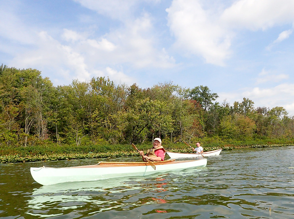 . Jonathan Tressler � The News-Herald <br> On Bass Lake in Munson Township Sept. 1, Cleveland Amateur Boatbuilding and Boating Society member Joe Lose, front, paddles the 14� 7� wooden Fox boat he built between October and December, 2016 as CABBS President Ed Neal follows in the Six-Hour Canoe members of the group built as a prototype for the 2018 Progressive Mid-America Boat Show in Cleveland.