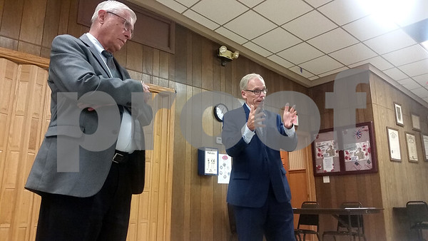 State Rep. Bob Pritchard (right), R-Hinckley, and state Sen. Dave Syverson, R-Rockford, address constituents during Unplugged Politics midday Thursday at the Genoa Veterans Club.