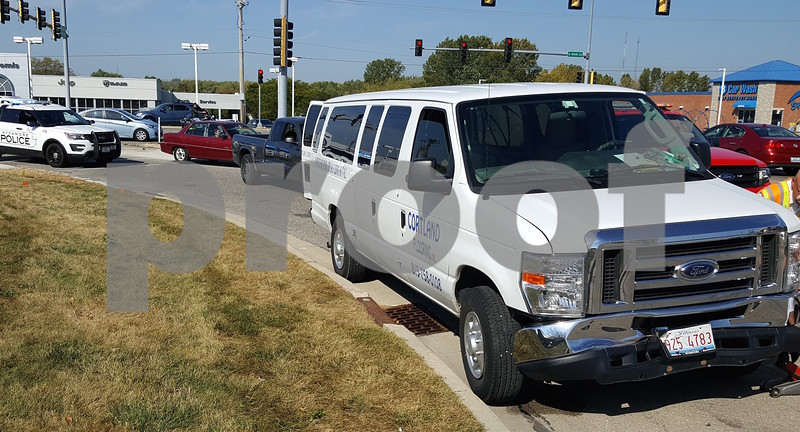 Kevin Solari – ksolari@shawmedia.com<br /> A two-car crash at DeKalb Avenue and Mercantile Drive in Sycamore sent one driver to the hospital and snarled traffic for a while Friday morning.