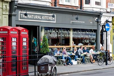 Cafe bar serving organic food on Marylebone High Street, W1, London, United Kingdom