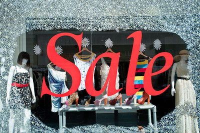 Summer sale in West End shop, London, United Kingdom