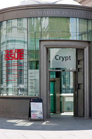 Crypt cafe entrance, St Martin-in-the-Fields Church, London, United Kingdom