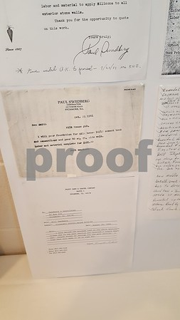 Copies of old bids and other correspondence from the past 90 years were displayed at the open house celebrating Swedberg & Associates' 90th anniversary. The milk house job for $125 included pouring concrete.