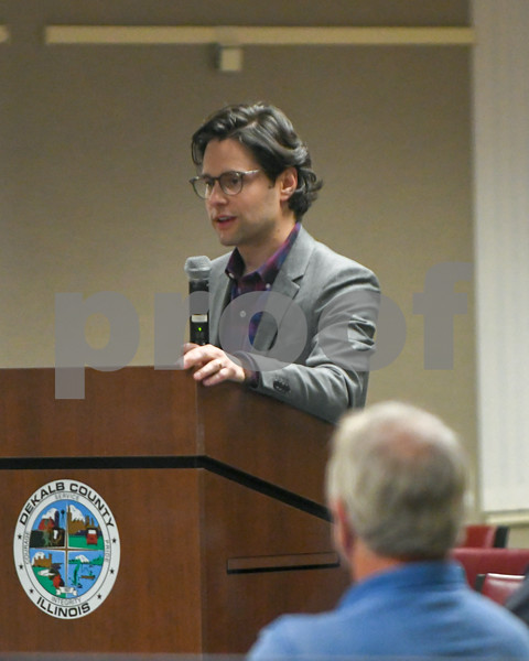 Scott Novack of Cypress Creek company talks to the DeKalb County Planning and Zoning Committee during the September 26th meeting about what would have to take place if the solar farms would be installed.