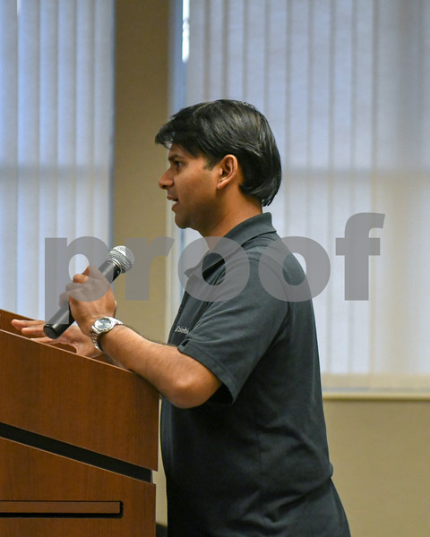 Mustafa Mohammad of HBK engineering speaks during the DeKalb County Planning and Zoning Committee meeting on September 26th as they talk about special use permits for solar farms in DeKalb County.
