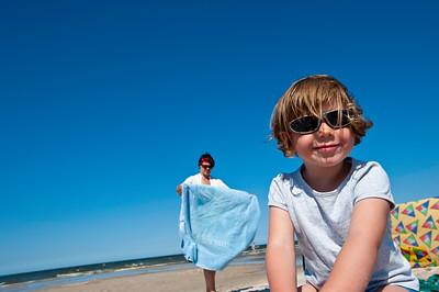 Family on summer holiday, Baltic sea coast, Debki, Poland