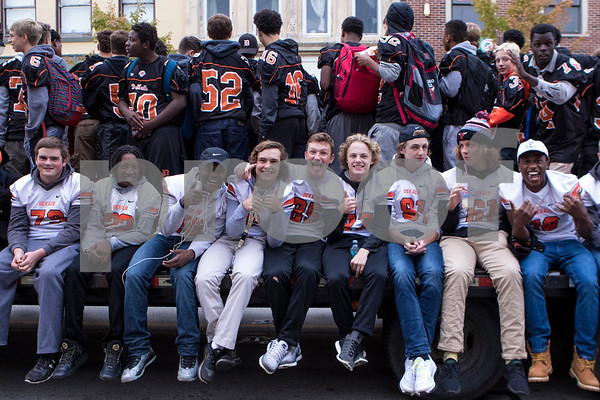 Sam Buckner for Shaw Media.<br /> Dekalb football players role through the DHS homecoming parade on Thursday September 29, 2016.