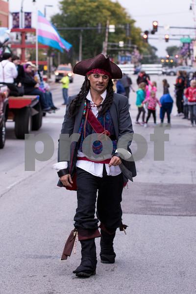 Sam Buckner for Shaw Media.<br /> Outdoor adventure club adviser Mike Petrov walks the Homecoming parade dressed as Jack Spearow