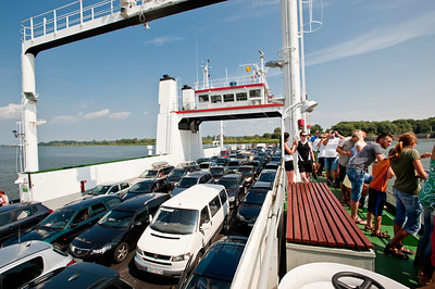Car ferry across Swina River to Swinoujscie, Poland