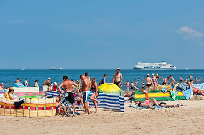 Sandy beach on Baltic Sea coast, Swinoujscie, Poland