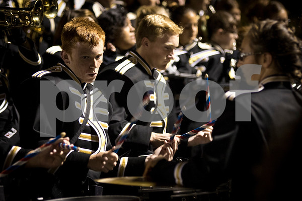 Sam Buckner for Shaw Media.<br /> Michael Decker plays the drums before the football game against Kaneland on Friday September 30, 2016.