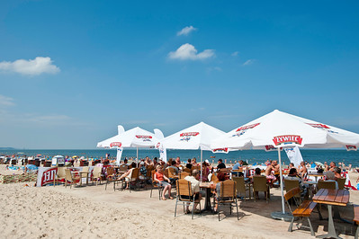 Bar by sandy beach on Baltic Sea coast, Swinoujscie, Poland