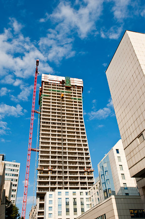 Third tallest in Poland skyscraper during construction on Ulica Zlota, Warsaw, Poland