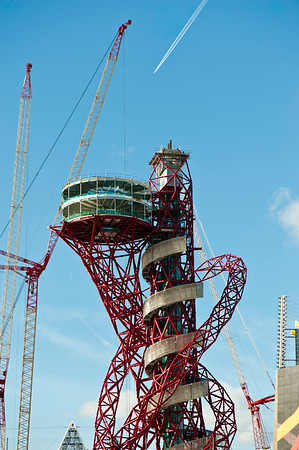 London 2012: Orbit tower is completed on Olympic Park, London, United Kingdom