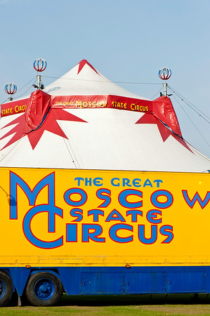 Tent of Moscow Circus on Ealing Common, London, United Kingdom