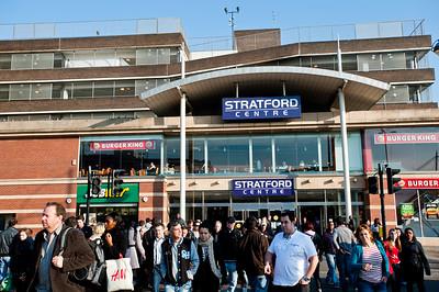 Busy street by Stratford Shopping Centre, E15, London, United Kingdom