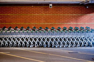 Trolleys in Morrisons carpark, London, United Kingdom
