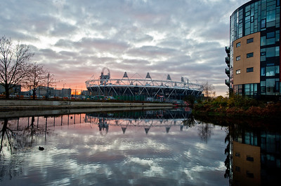 Olympic Park seen from Hackney Wick over Lee Navigation system, London, United Kingdom