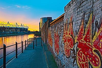 Footpath along Lee River by Olympic Park, Hackney, London, United Kingdom