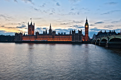 Houses of Parliament at dusk, overlooking Thames River, London, United Kingdom