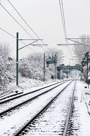 Railway track covered in snow, Acton Central, London, United Kingdom