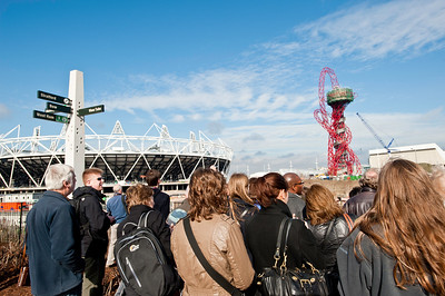 Visitors on Greenway overlooking Olympic Park, London, United Kingdom