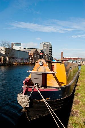 Houseboat moored, Lee Navigation, London, United Kingdom
