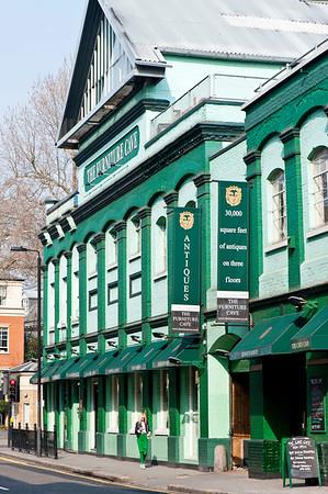 """The Futniture Cave"" Antique furniture shop on Lots Road, SW10, Chelsea, London, United Kingdom"