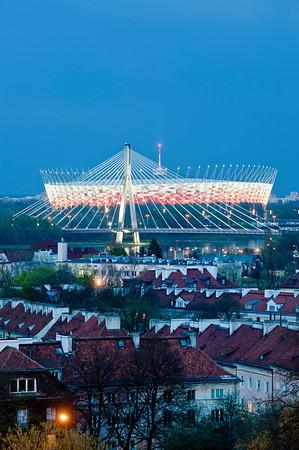 View of National Stadium at night, Warsaw, Poland