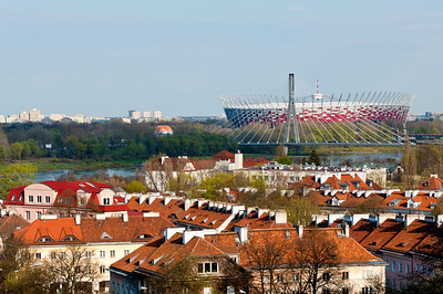 View of National Stadium and rooftops, Warsaw, Poland