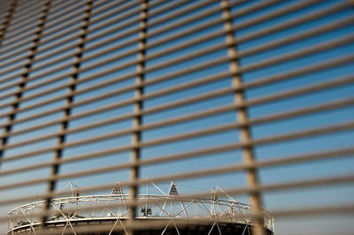 Security fencing around Olympic Park, Olympic Park, London, United Kingdom