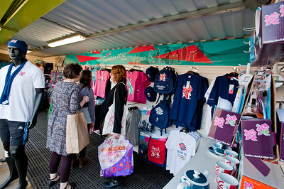 Official olympic merchandise on sale by Greenway, Olympic Park, London, United Kingdom