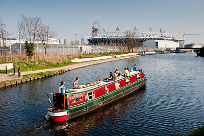 Houseboat on Lee Navigation by Olympic Park, London, United Kingdom