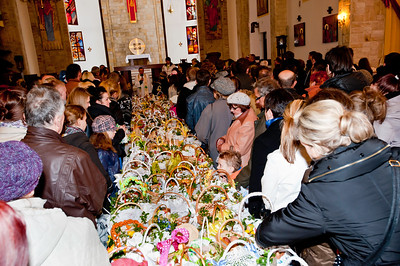 Food is being blessed in the church during Easter celebrations, Poland