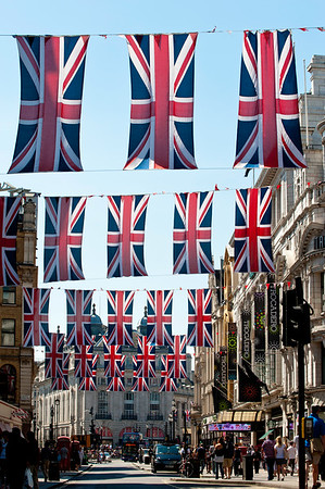Coventry Street decorated for Diamond Jubilee, London, United Kingdom