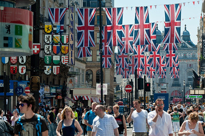 Leicester Square decorated in Union Jacks for Diamond Jubilee, London, United Kingdom