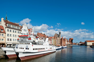 Old Town architecture overlooking Motlawa River, Gdansk, Poland