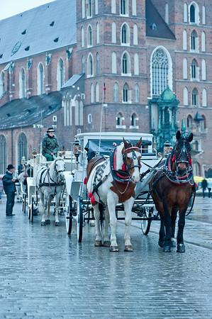 Main Square on rainy day, Cracow, Poland