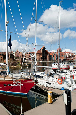 Marina on Motlawa River overlooking Old Town, Gdansk, Poland