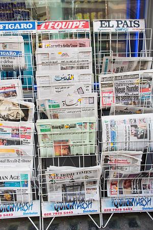 International newspapers on sale, London, United Kingdom