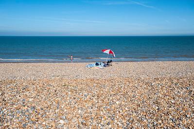 Pebble beach overlooking Sandwich Bay, Kent, United Kingdom