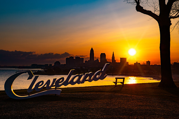Cleveland Script Edgewater Park at Sunrise