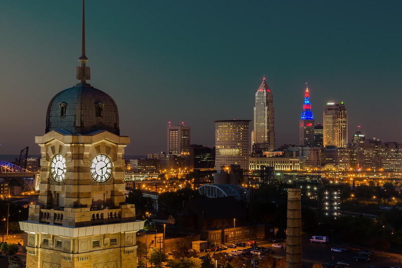 Cleveland Skyline At Dusk