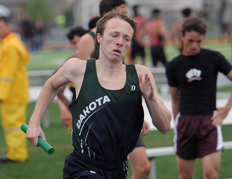 Chase Fedolak of Dakota comes in first for his team in the 4x800 relay.(MIPrepZone photo gallery by David Dalton)
