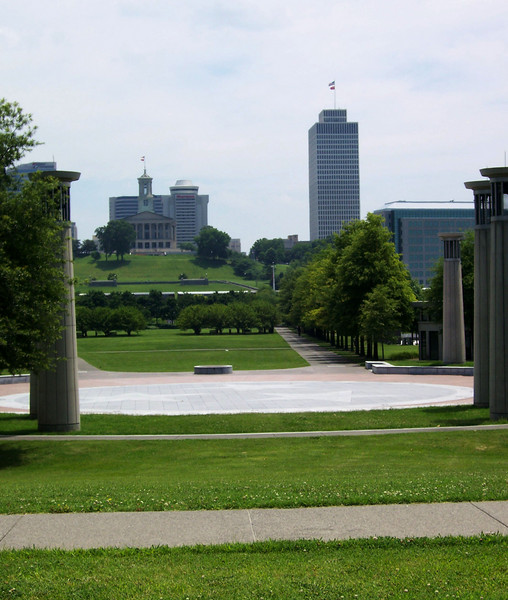 "The Court of 3 Stars, at the northern end of the mall. The court is made of red, white and blue granite, which represent the three grand divisions of the state –  East, Middle and West Tennessee. Surrounding the court is a 95-bell carillon representing Tennessee's musical heritage and the state's 95 counties. A 96th bell, known as the answer bell, is located on the grounds of the State Capitol and rings in answer to the 95 bells, symbolizing government answering to the people. <br /> <br /> The Bicentennial Mall stretches 19 acres, connecting the Tennessee Capitol Building and the Germantown Historic District. The pedestrian mall opened in 1996, to commemorate the 200th anniversary of the state of Tennessee.<br /> <br /> Fashioned after the National Mall in Washington, DC, the park celebrates the state's history, recreational attractions, and natural wonder. The Bicentennial Mall offers a number of attractions, including a 1,400-foot Wall of History etched with historic events from the state's first two centuries, 31 fountains that each represent one of the state's rivers, and a 200-foot granite state map. <br /> <br /> The mall also preserves the only remaining view of the Capitol -- from the north side -- as a building boom in the late 1950s and early 1960s blocked the sight of the building from the east, west, and south sides of the city.<br /> <br /> The project was awarded TE funds (under Category 1) in 1994 for construction of the Bicentennial Mall. Federal Award: $23,250,000; Local Match: $5,812,000; Total: $29,062,000<br /> <br /> To learn more about the Bicentennial Mall visit  <a href=""http://www.tennessee.gov/environment/parks/Bicentennial/index.shtml"">http://www.tennessee.gov/environment/parks/Bicentennial/index.shtml</a>"