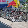 Bicycle parking is a popular amenity on the boardwalk.  New bicycle parking platforms were included in the reconstruction project.